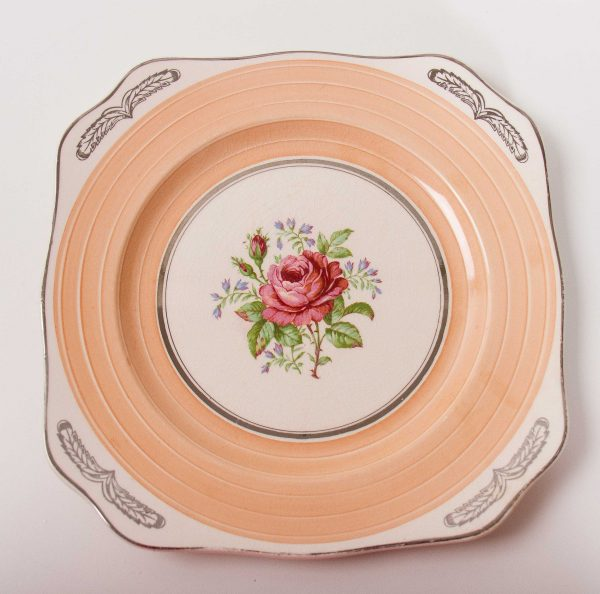 , Simpsons Potters Ltd. Vintage Plate, Ambassador Ware Serving Tray, pink rose Cake Plate, Silver Trim, Floral Transferware Dish, Earthenware