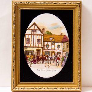 Staffordshire Ceramic Framed Hand Made Painted Oval Tile Picture Old Coach House York gilt frame black velvet Harleigh China Co. 1971