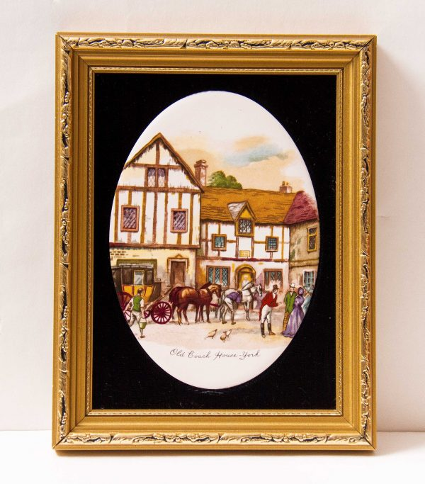 , Staffordshire Ceramic Framed Hand Made Painted Oval Tile Picture Old Coach House York gilt frame black velvet Harleigh China Co. 1971