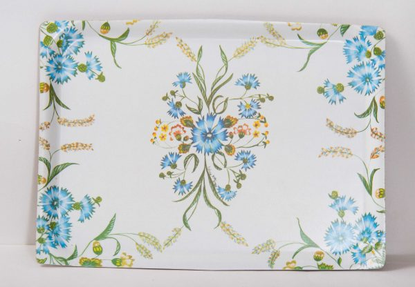 , SYLVIA MACGREGOR DESIGN Vintage Mid Century Mallod kitsch floral serving tea tray Melamine blue flowers