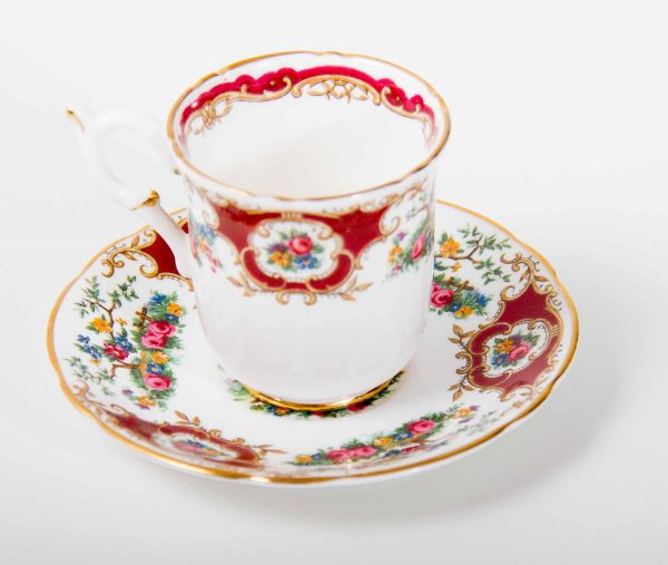 , Vintage Coalport Broadway Marone red china demitasse cup and saucer