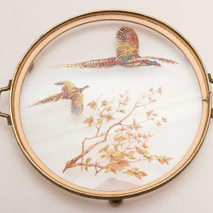 VINTAGE dressing table vanity round tray glass painted birds pheasants leaves gold tone metal feet handles cocktail drinks tray