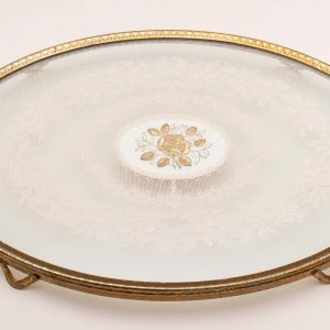 VINTAGE dressing table vanity tray glass lace gold embroidery oval gilt edge on feet