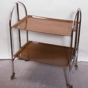 Vintage folding Bar Cart Tea Drinks TROLLEY serving tray cocktail bar 2 tier chrome wood effect Melamine Mid Century