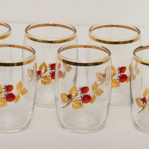 Vintage glass tumblers with gold and red Strawberry fruit pattern gilt rim set of 6
