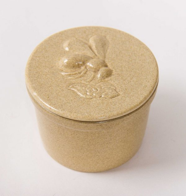 , Vintage Honiton Devon pottery HONEY POT Bee on Flower lid lidded jar stoneware England