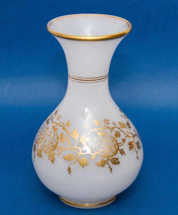 Vintage milk glass vase, Vintage large white milk glass vase with gold floral pattern gilt edge