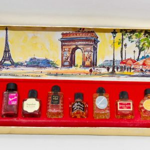 Vintage PARFUMS DE FRANCE Charrier Charles V 10 miniature bottles in gold box French perfume