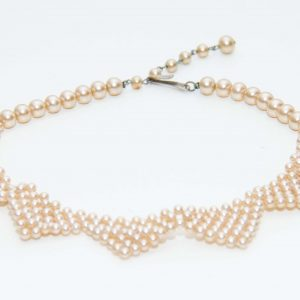 Vintage pearl collar choker necklace