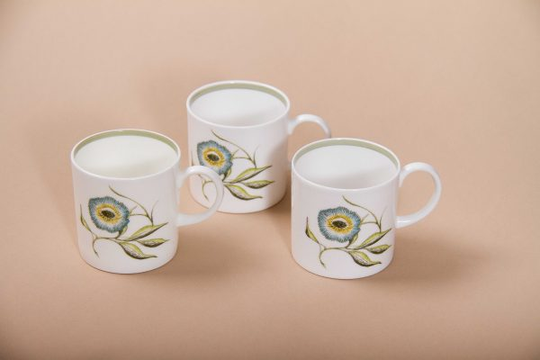 , Vintage Susie Cooper, Signed, 1960s Katina Pattern, Wedgwood, Bone China, Tea Cup, Coffee cup, Demitasse, Espresso