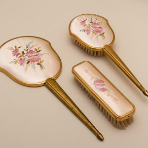 Vintage vanity Dressing Table set Gold tone pink embroidery flowers floral pattern on satin hand mirror & 2 brushes