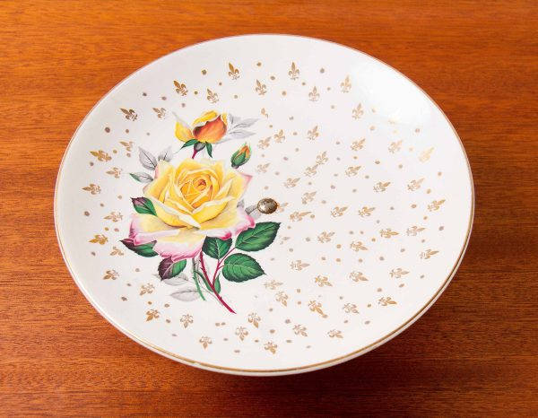 Weatherby Hanley pedestal cake stand plate, Weatherby Hanley England Royal Falcon Ware yellow rose gold Fleur De Lys pedestal cake stand plate