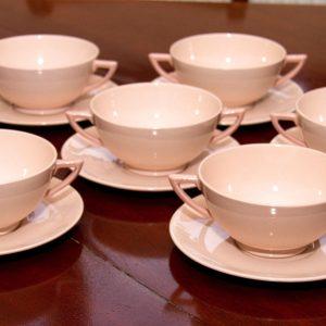Wedgwood Blush Rose Art Deco soup desert bowl & saucer set 6 settings pale pin