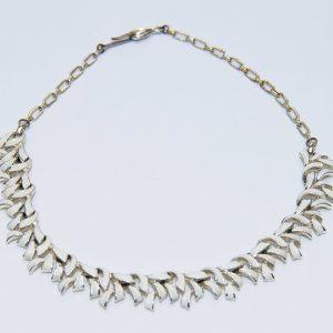 White enamel silver metal vintage necklace collar dress costume jewellery