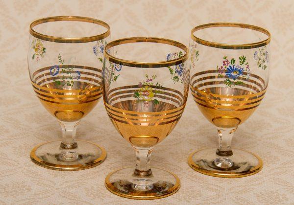 3 stemmed glasses Gold banded floral pattern glass vintage