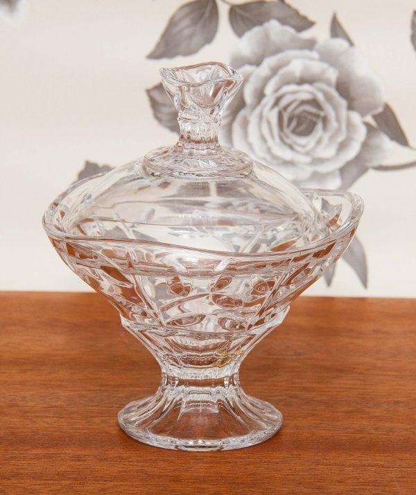 , Cut Glass Bonbon pedestal dish with lid clear decorative glass