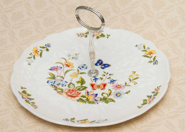 Aynsley Cottage Garden Cake Stand, Aynsley Cottage Garden Cake Stand vintage cake pastry serving plate