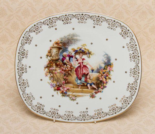Large Limoges French Porcelain Decorative Plate, Large Limoges French Porcelain Decorative rectangle Cake serving plate