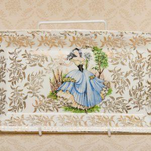 Portland Pottery Lady in Blue dress sandwich plate