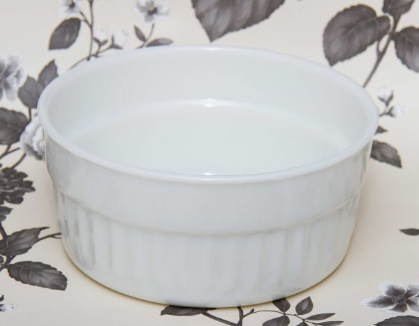 PYREX Milk Opal glass vintage oven to tableware large souffle casserole baking serving dish, PYREX Milk Opal glass vintage oven to tableware large souffle casserole baking serving dish white glass Made in England