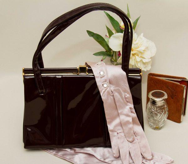 Vintage APD Dittner brown patent Kelly bag, Vintage APD Dittner brown patent Kelly bag with top handles gold clasp 1950's 1960's ladies handbag