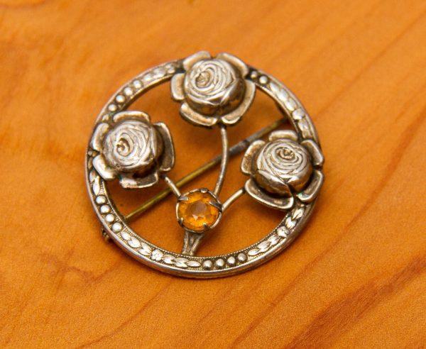 Vintage Solid Sterling Silver 925 brooch, Vintage Sterling Silver 925 Rose Flower floral botanical Citrine brooch
