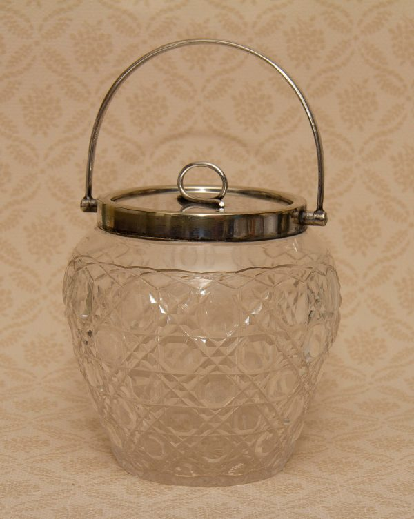 Antique William Hutton and Sons Silver plate Cut Glass Biscuit Barrel, Antique William Hutton and Sons Silver plate Cut Glass Biscuit Barrel WH&S