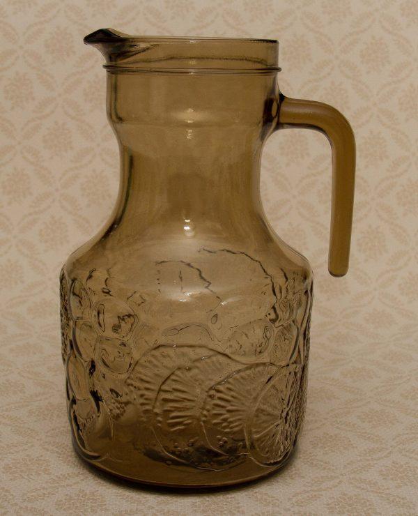 Vintage Italian Smoke Glass Water Fruit Jug, Vintage Italian Smoke Glass Water Fruit Jug Pitcher Large Pressed Glass Italy Table Jug