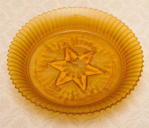Sowerby Amber Glass Bowl, Vintage Sowerby Amber Glass Bowl cut Star base Frosted pattern Art Deco glass