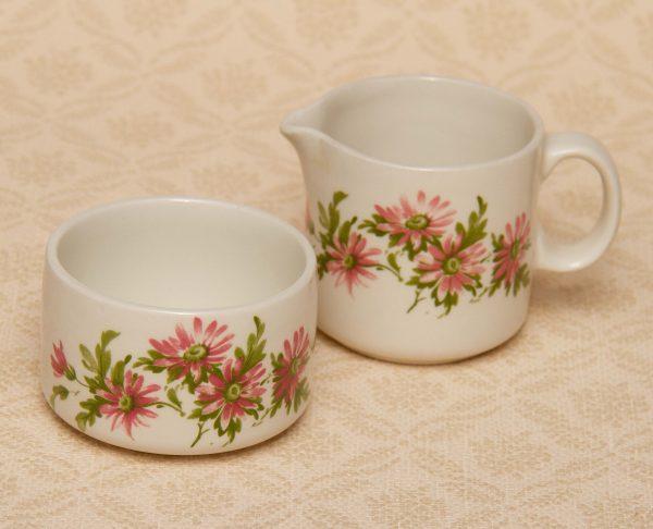 Petite Fleur Creamer and Sugar Bowl, Petite Fleur Vintage Creamer and Sugar Bowl Set Pink Flower Design Made in England