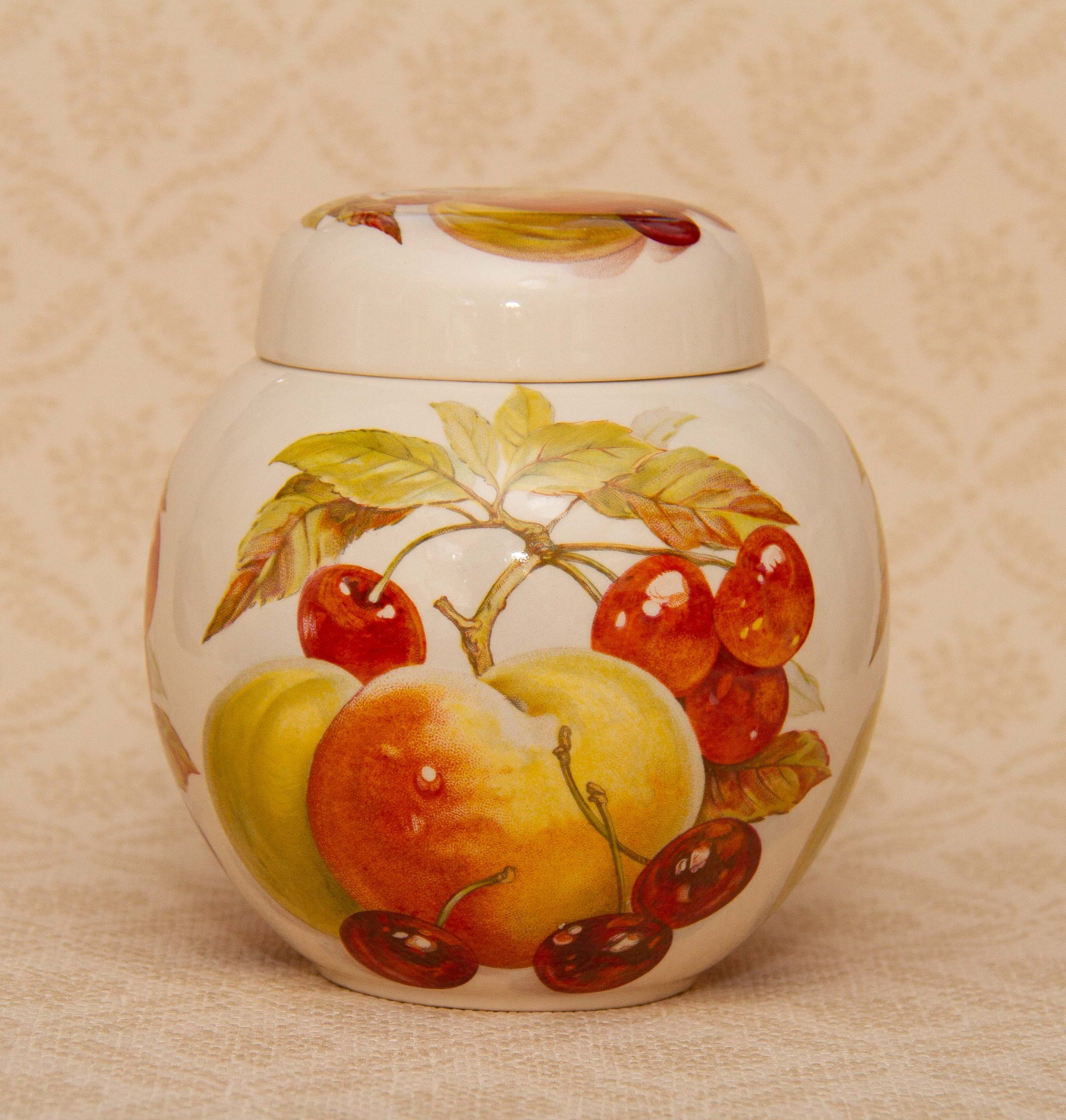 Masons Ironstone Ginger Jar Peaches And Cherries Fruit Pattern With Lid Love Vintage