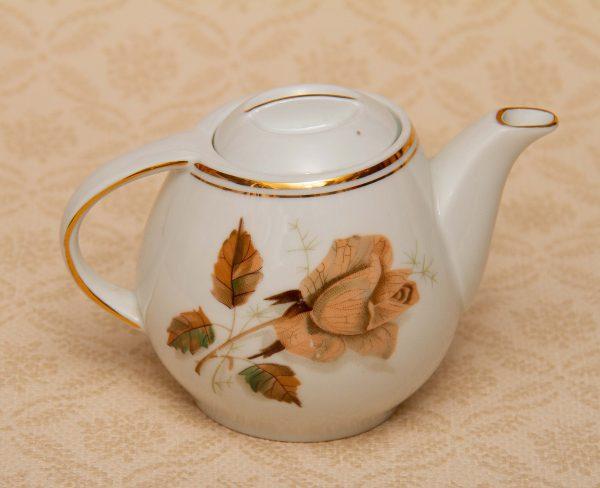Wawel Poland Teapot Small, Vintage Wawel Poland Teapot Small Polish Pottery Teapot Rose and Leaf Pattern