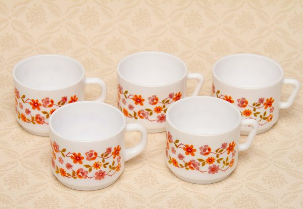 mid century vintage orange tea coffee set, Arcopal France Orange Floral Opalware Milk Glass Cups Vintage Retro