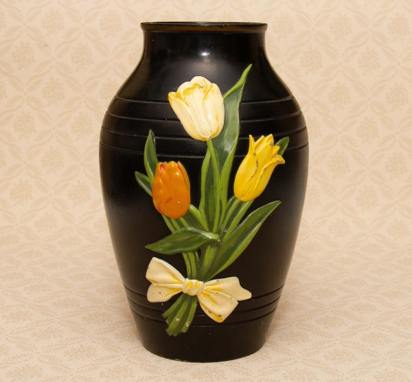Brentleigh Ware Marden Large Black Vase, Brentleigh Ware Marden Large Black Vase Tulips Design 1950's Staffordshire Pottery
