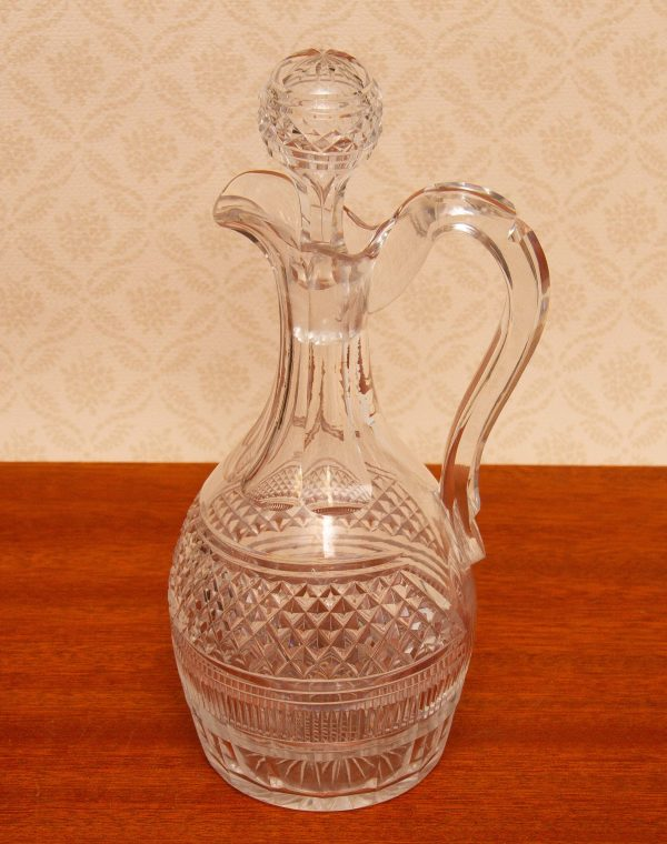 Antique Cut Glass Claret Jug Decanter, Antique Clear Cut Glass Claret Jug Decanter With Stopper