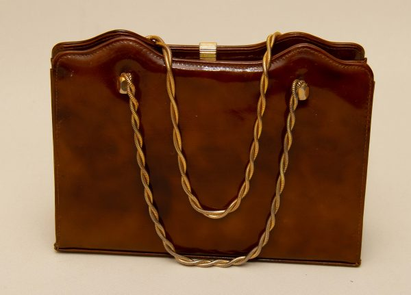 Peter M Alan Vintage Bag, Peter M Alan Vintage Handbag Brown Mottled Patent Gold Chain Handles With Mirror Made in England