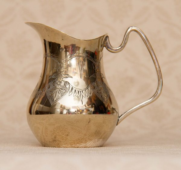 antique A1 silver plated jug, Antique A1 Silver Plated Jug Hard Soldered Engraved Pattern