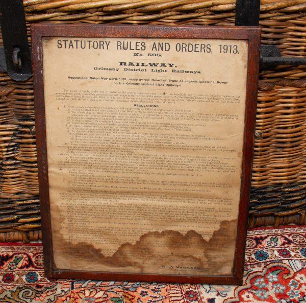 Antique Railway Notice 1913, Antique Railway Statutory Rules And Orders 1913 Notice 595 Original in Frame