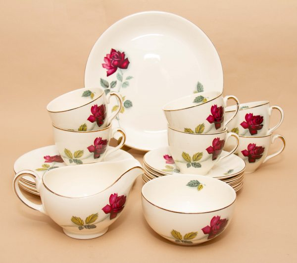 Alfred Meakin Realm Rose Tea Set, Alfred Meakin Realm Rose Tea Set Cups Saucers Side Plates Cake Plate Jug Sugar Bowl 19 piece Set 1950's