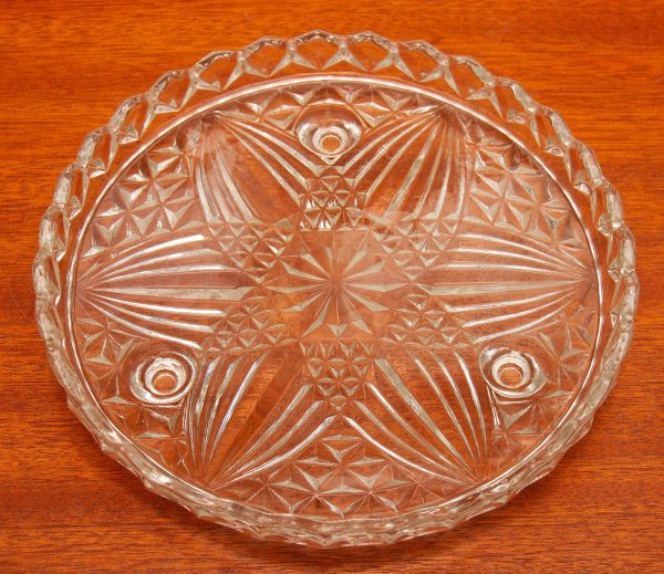 Clear Glass Cake Plate, Clear Glass Cake Plate Footed Serving Plate Star Pattern Vintage Pressed glass display stand
