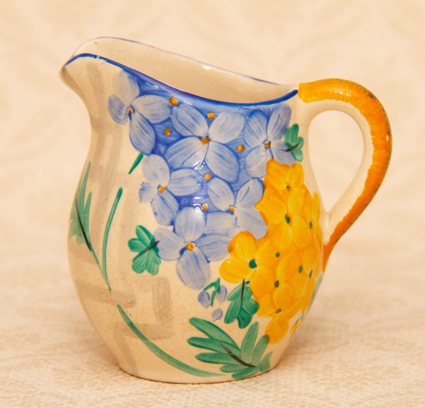 Hand Painted Art Deco Jug, Small Art Deco Hand Painted Pottery Jug Blue and Yellow Flower Pattern