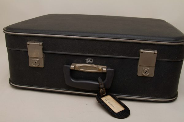 Python Vintage Suitcase, Python Vintage Suitcase Dark Grey, Leather Name Tag 1960s Made in England
