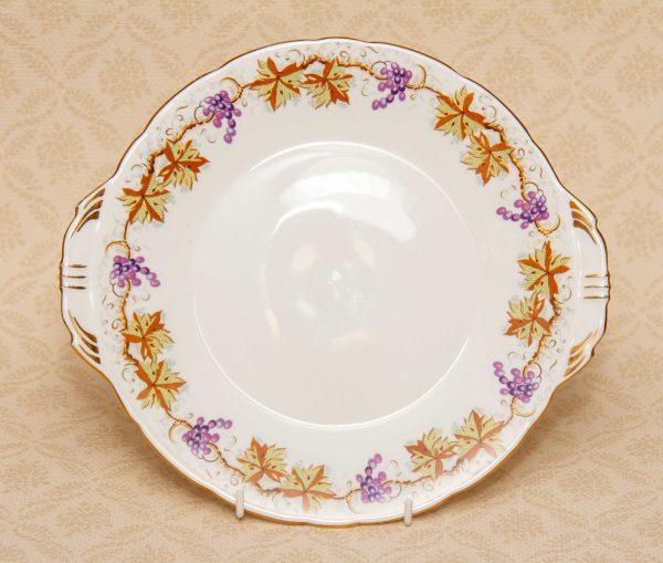 Aynsley Bone China Grape Vine Plate, Aynsley Bone China Grape Vine Cake Sandwich Plate