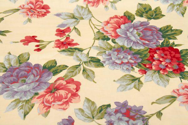 Vintage Cotton Fabric Floral Chintz, Large Piece Vintage Cotton Fabric Floral Chintz Lilac Red Flowers