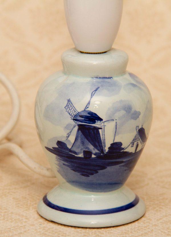 Delft Small Table Lamp, Delft Small Table Lamp Blue & White Windmill Dutch Pottery Holland