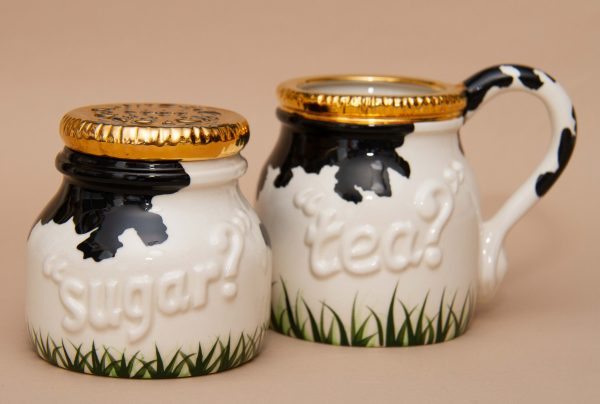 Cardew Designs Cow Tea Sugar, Cardew Designs Rare Cow Pattern Tea? Cup and Sugar With Milk Bottle Gold Top