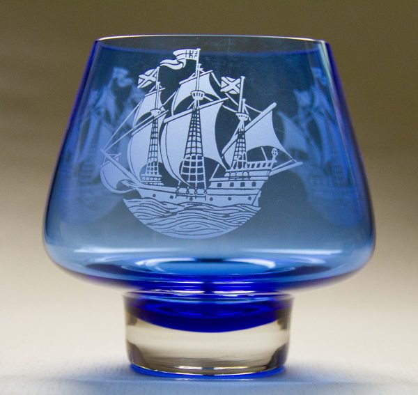 Caithness Glass Scotland Mayflower Bowl, Caithness Glass Scotland Large Blue Etched Bowl – The Mayflower