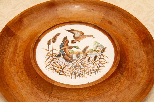 Wooden Vintage Snack Dish With Flying Ducks, Large Wooden Vintage Snack Dish With Flying Ducks Tile Insert