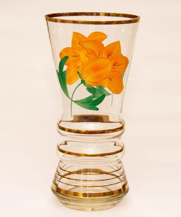 Large Vintage Glass Vase, Large Vintage Glass Vase Orange Painted Flower Pattern Gold Bands & Rim