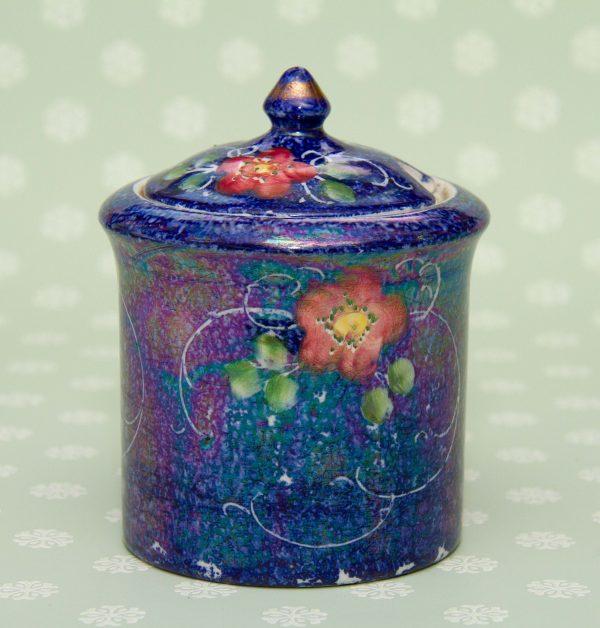 H J Wood Antique Staffordshire Knot Pottery, H J Wood, Alexandra Pottery, Burslem Antique Floral Blue Lustre Glaze Jar With Lid Staffordshire Knot Mark